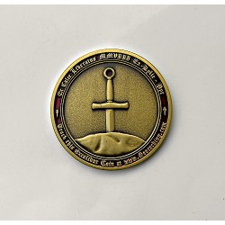Excalibur Geocoin Antique Gold
